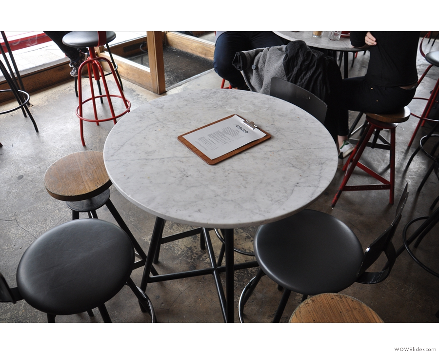 One of the six tables that fill the middle of Shoreditch Grind.