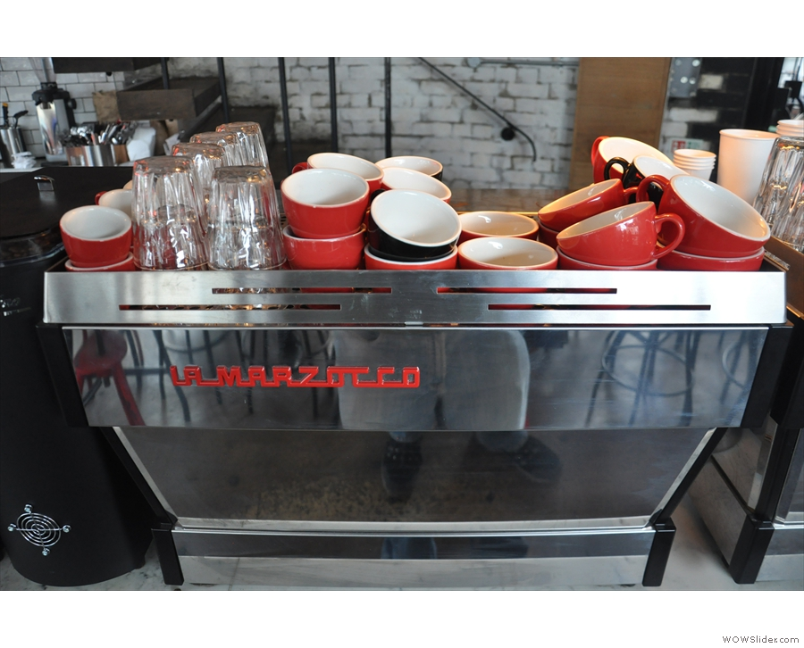 One of the two La Marzocco espresso machines.