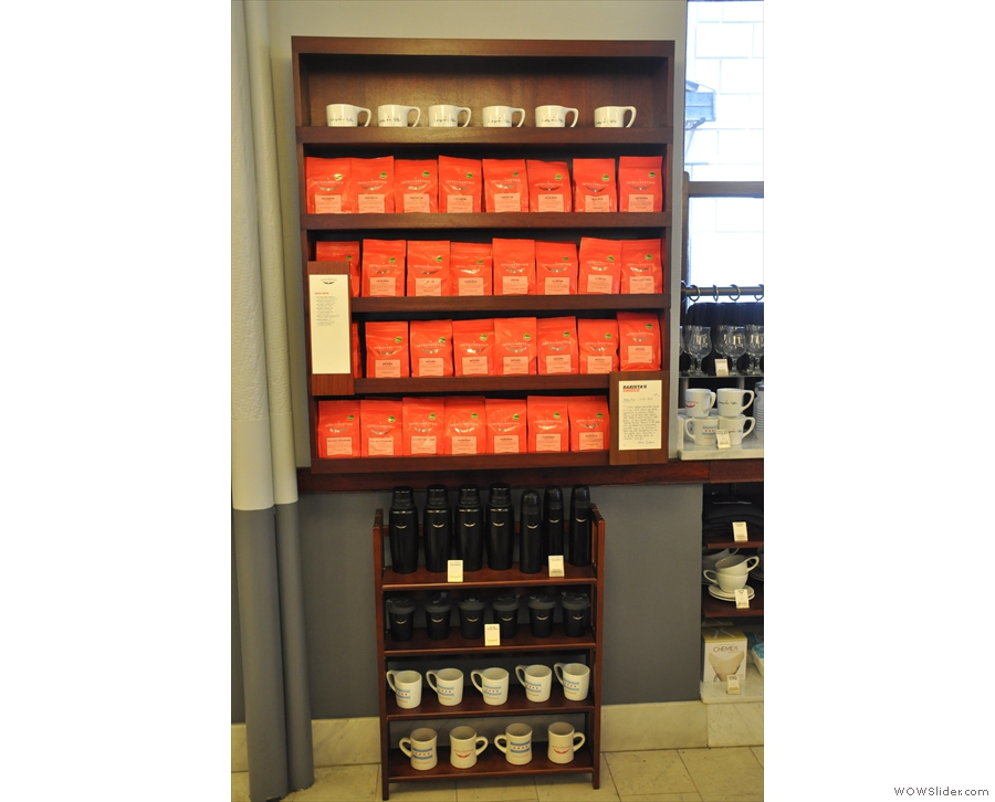 There's coffee, with mugs and flasks below. These are Intelligentsia's single-origins.