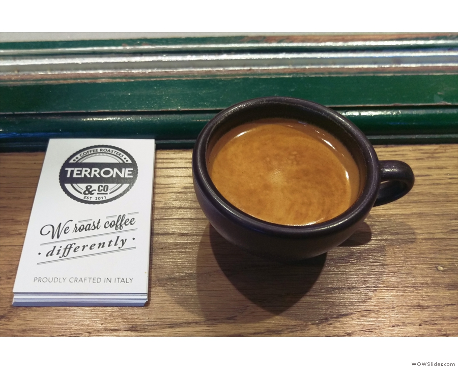 I've been carrying it around in my rucksack ever since. Here, trying some Terrone coffee...