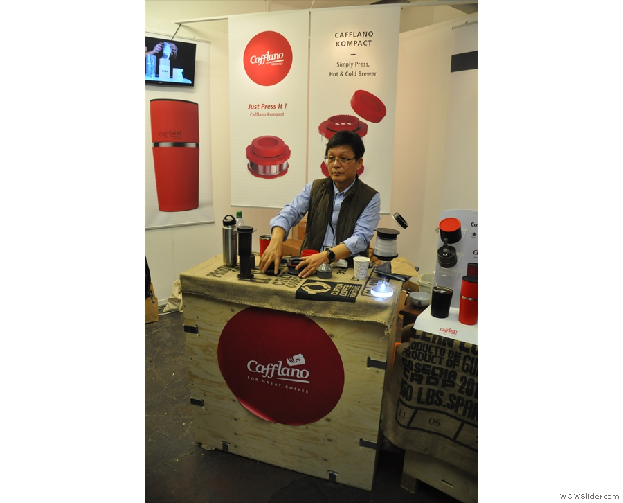 The Cafflano stand at the London Coffee Festival.