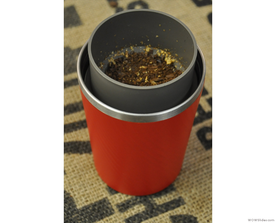 The ground coffee automatically sits in the filter.