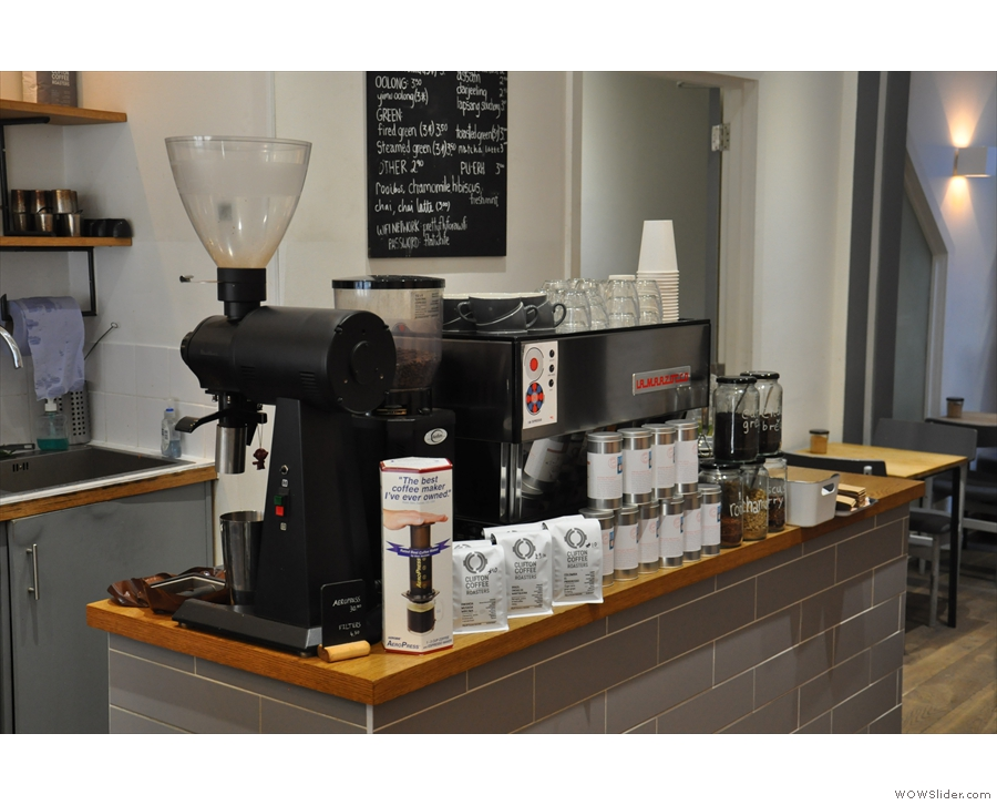 The espresso machine is front and centre. The EK-43 grnider is for decaf and filter...