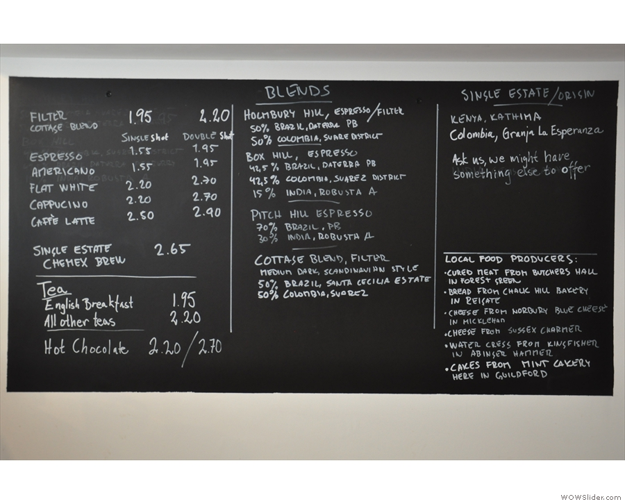 The menu boards behind the counter are a mine of information about the coffee.