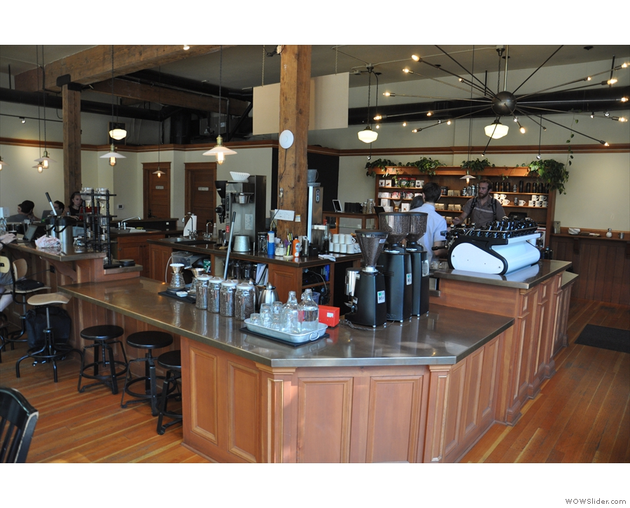 The coffee-making part of Case Study is around the other side of the island counter.