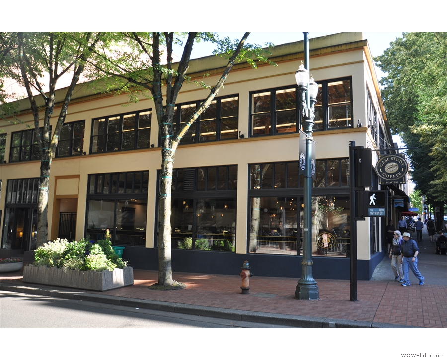 This is the view from across Yamhill Street. Case Study occupies the ground floor.