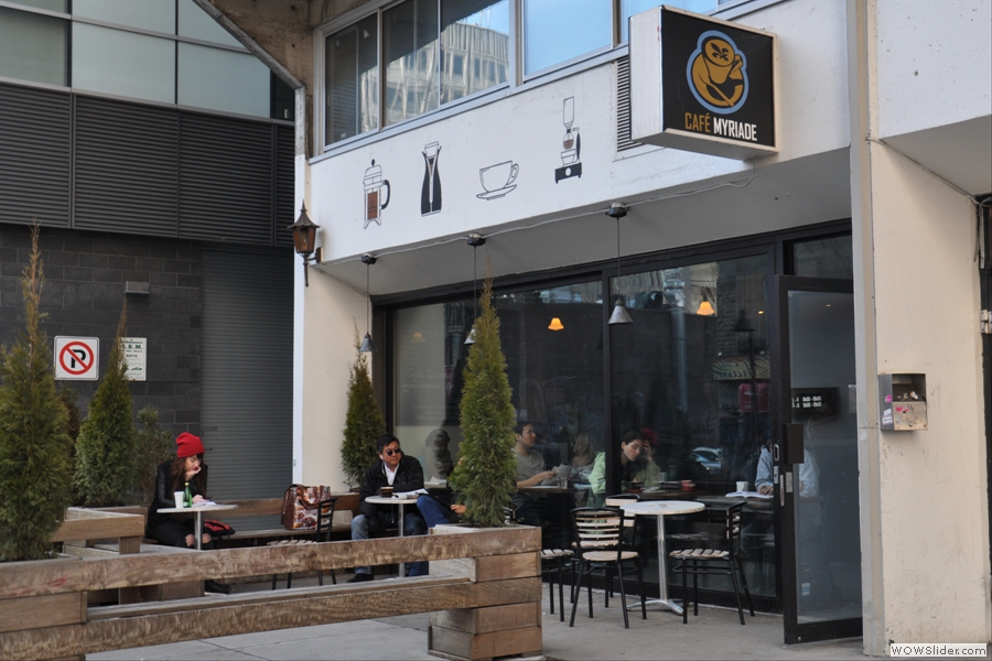 Another shot of the exterior showing the extensive outdoor seating. I imagine it's lovely in the summer!