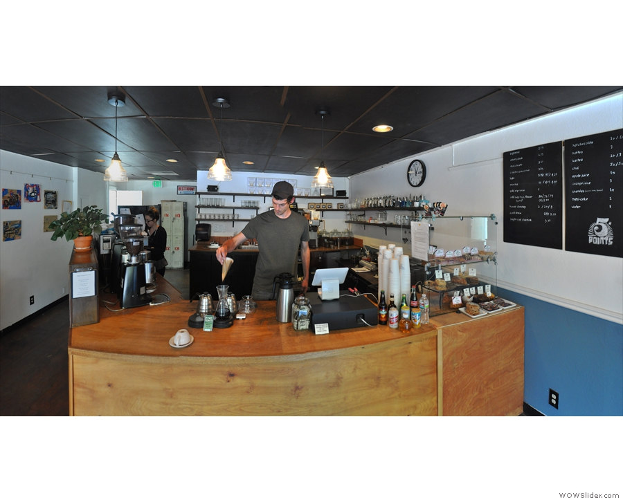 Front and centre, right next to the till, is the filter station where the Chemex are prepared...
