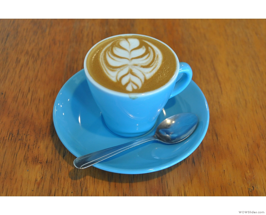 I went for a cappuccino with the latte art sporting a competition-winning design!