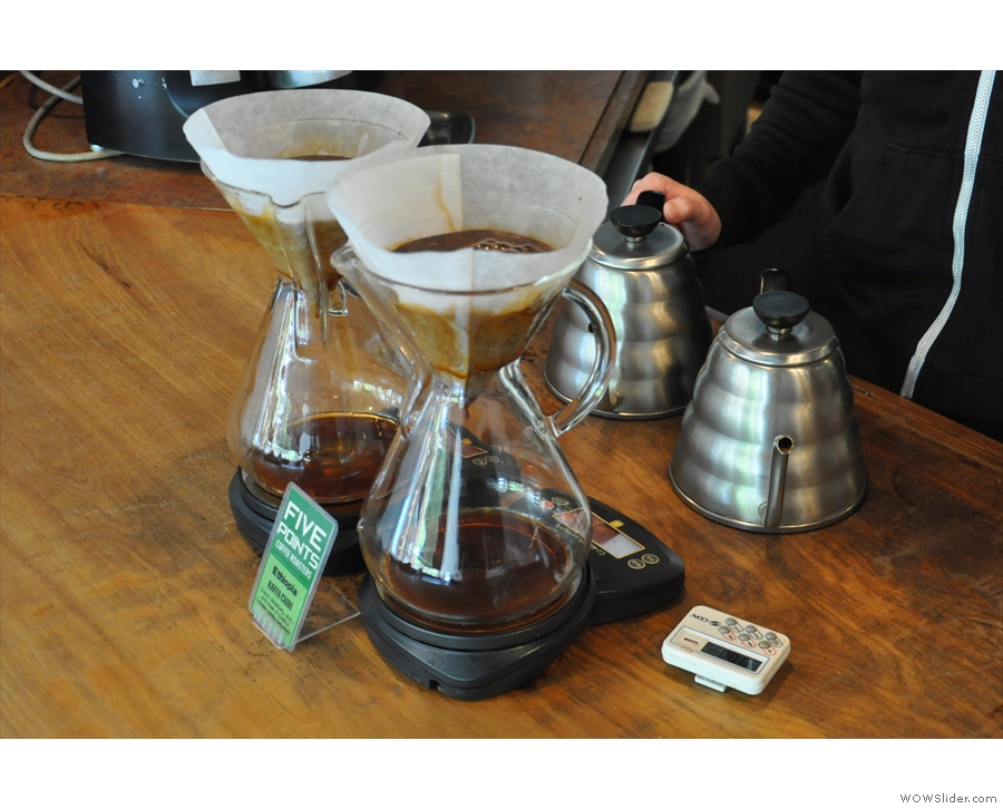 ... Five Points pre-prepares a couple of Chemex at a time using the filter of the day.