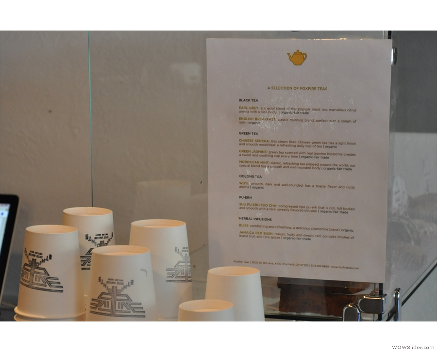 ... while there's a great selection of loose-leaf teas.