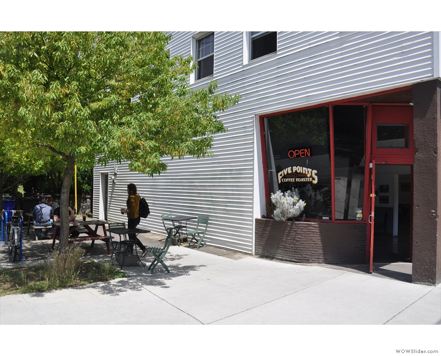 Meanwhile, around the corner on 35th Place is some shaded, outdoor seating.