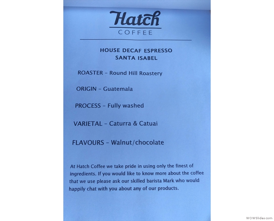 ... and the decaf from Round Hill.