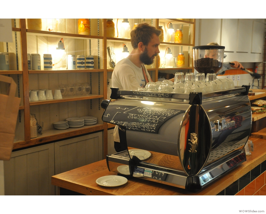 I set Barista Andy to work at the uber-shiny espresso machine.