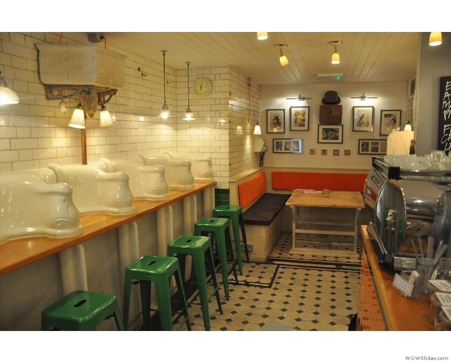 The main part of Attendant; urinals to the left, stalls (now the counter) to the right and the washbasins (now a table) at the end.
