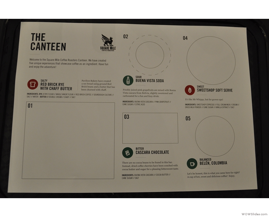 Each person gets a tray, with a insert explaining the five stations.