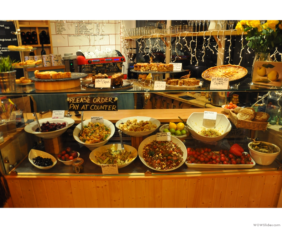The counter by the door has many treats, sweet and savory, to tempt you.