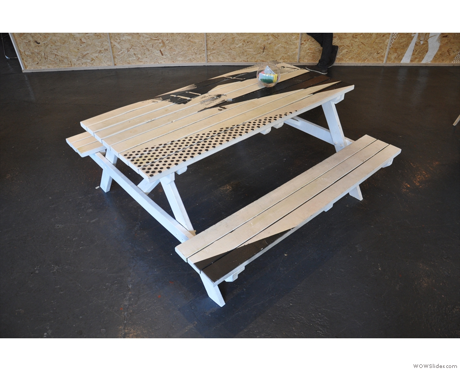 It's a mix of picnic tables with benches like this one...