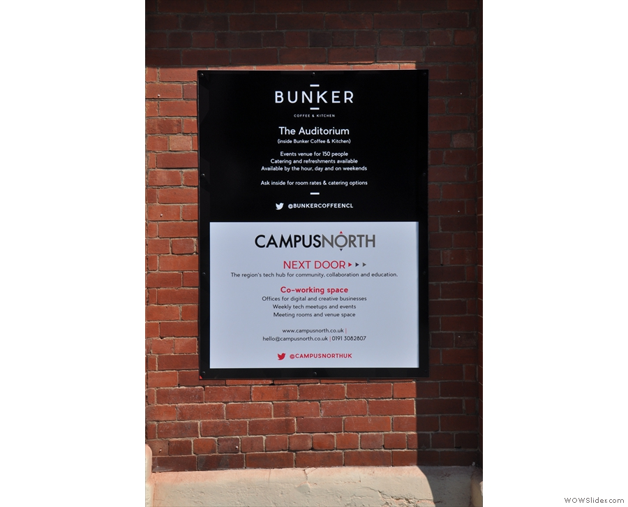 Bunker has an events space, The Auditorium, & next door, Campusnorth, a co-working space.