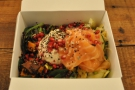 My excellent salad box with smoked salmon.