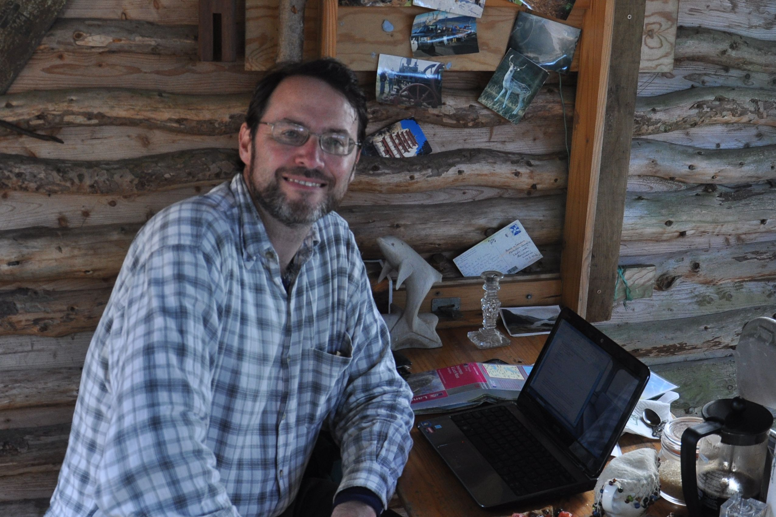 A picture of me and my laptop, blogging at the Abriachan Campsite and Cafe