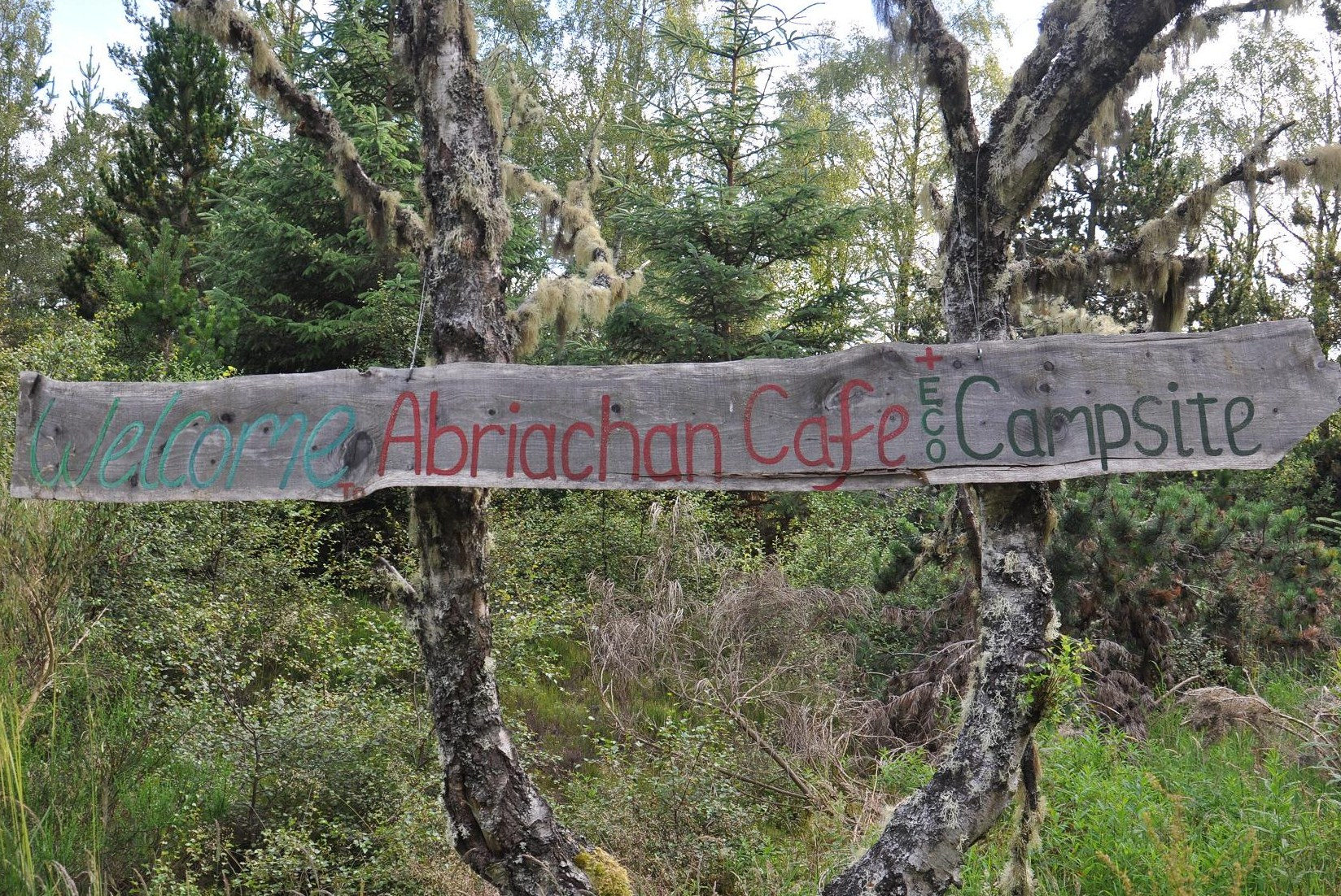 The sign at the entrance to the Abriachan Campsite and Cafe