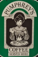 The Pumphrey's Coffee sign: 'Pumphrey's Coffee Served Here'
