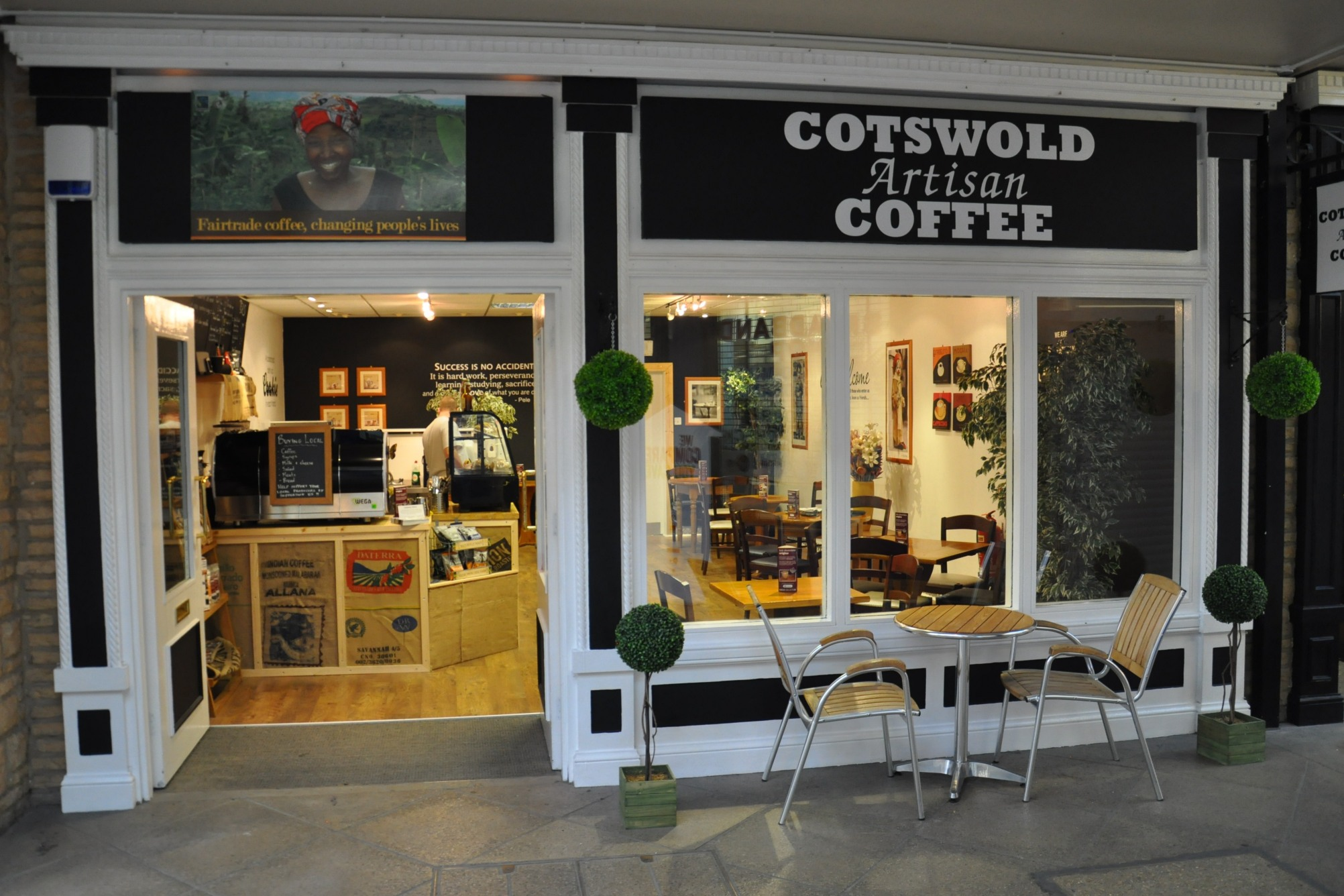 The exterior of Cotswold Artisan Coffee on Bishop's Walk in Cirencester.