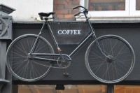 The trademark (with a small t) bicycle hanging above the door at No 193 Wardour Street