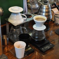 Making a V60 pour-over at Coffee Affair, Queenstown Road Station.