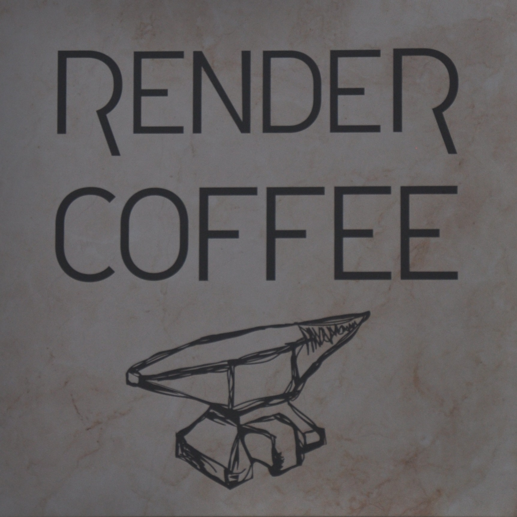 The Render Coffee logo, from the sign outside. The words RENDER COFFEE above a line-drawing of an anvil.