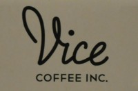 """Vice Coffee Inc., with """"Vice"""" in script and """"Coffee Inc."""" in caps"""