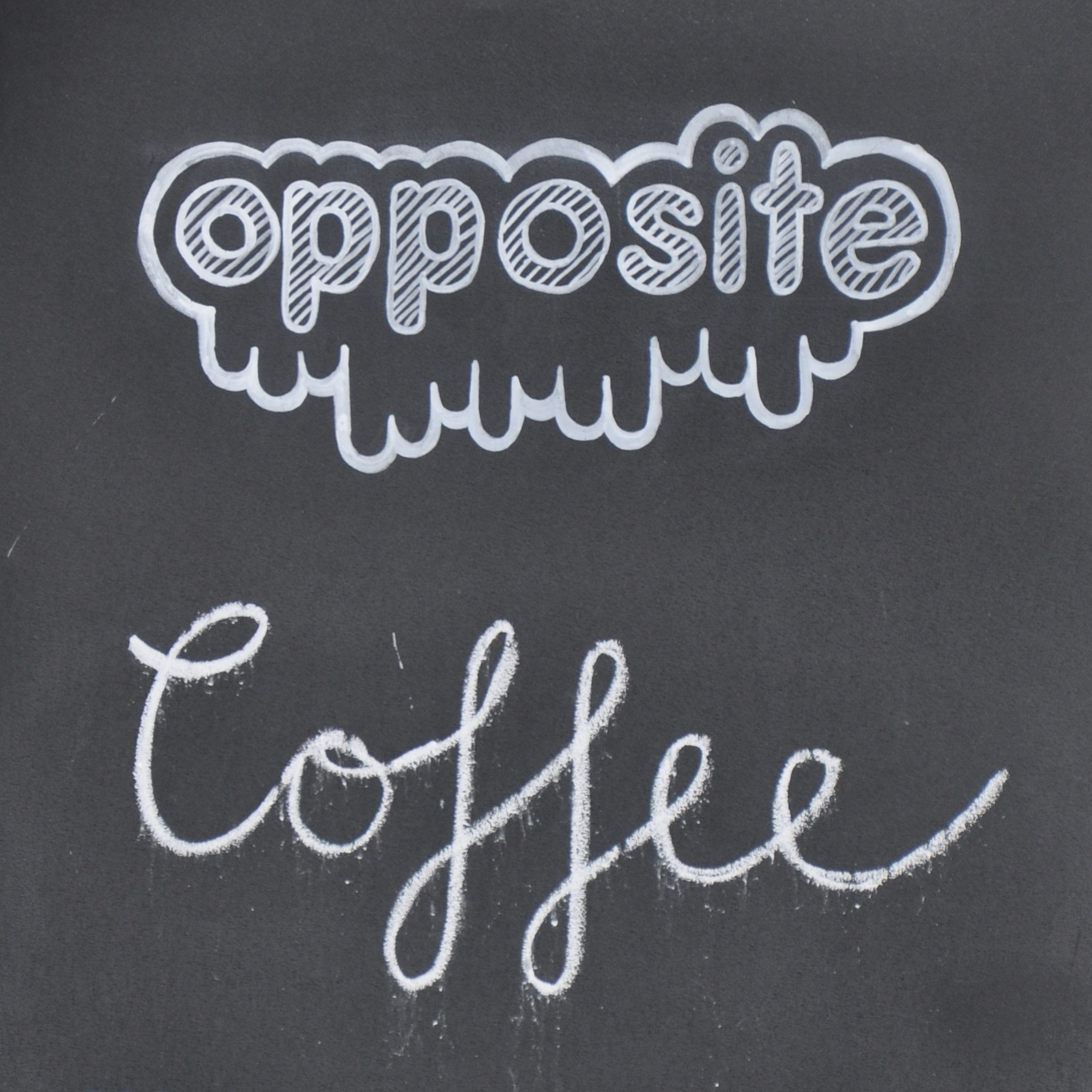 The Opposite logo in white chalk on a black background, with the word 'Coffee' written underneath.