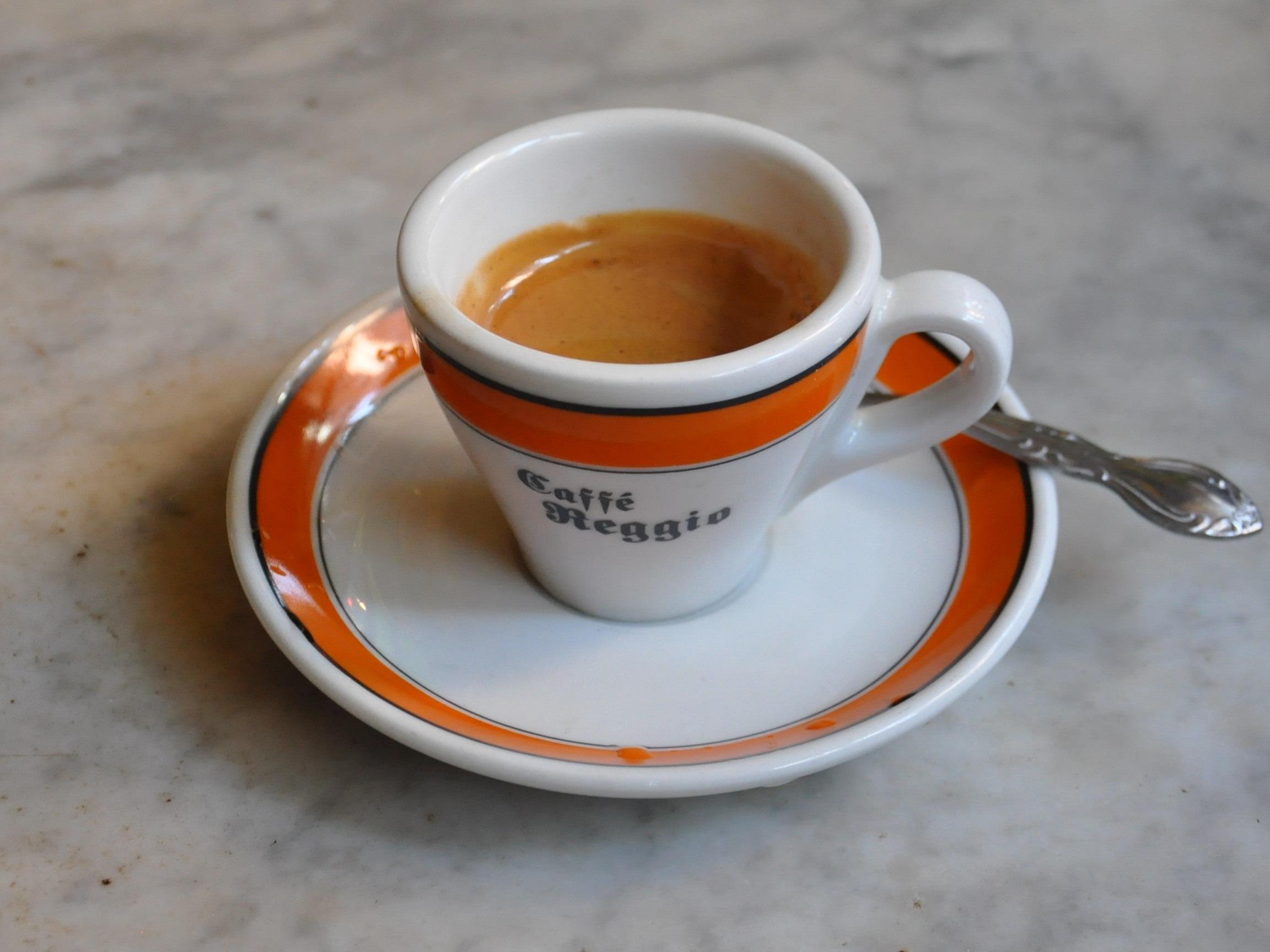 An espresso in a Caffe Reggio espresso cup.
