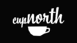 A stylised outline of a white cup on a black background with letters cupnorth written above it (also in white).