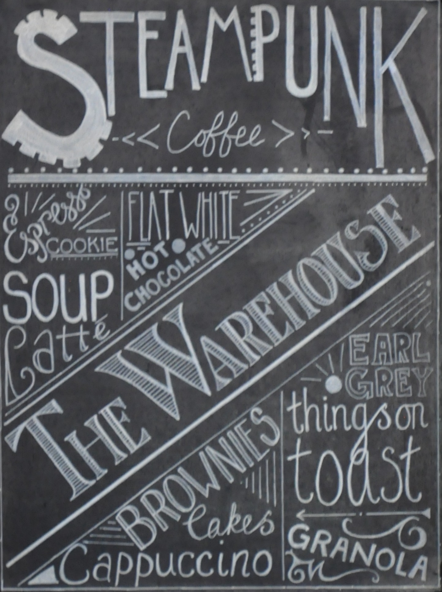 Details from one of Steampunk's white boards, listing various of its offerings.