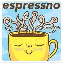The Espressno logo: a smiling, yellow cup of coffee