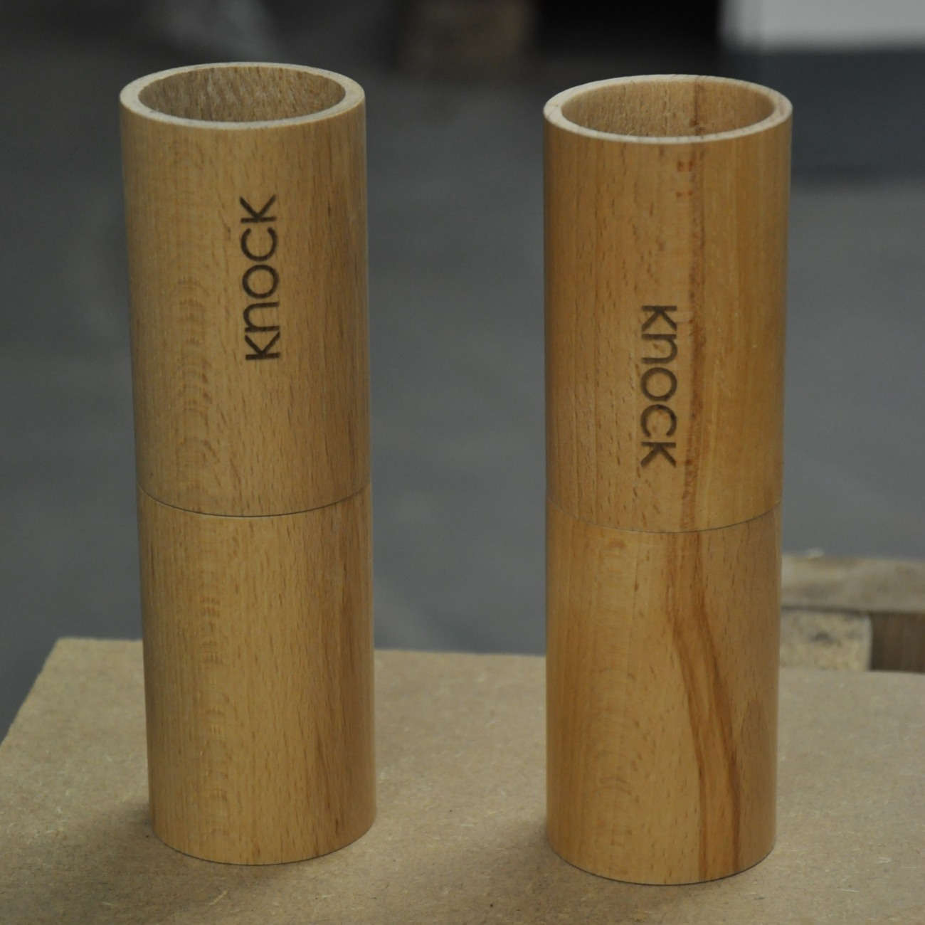Two sets of wooden cylinders for Knock's feldgrind hand-grinders.