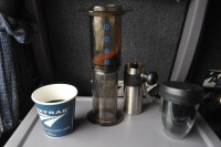 Have coffee, will travel. Making an Aeropress on Amtrak between Boston and Albany.