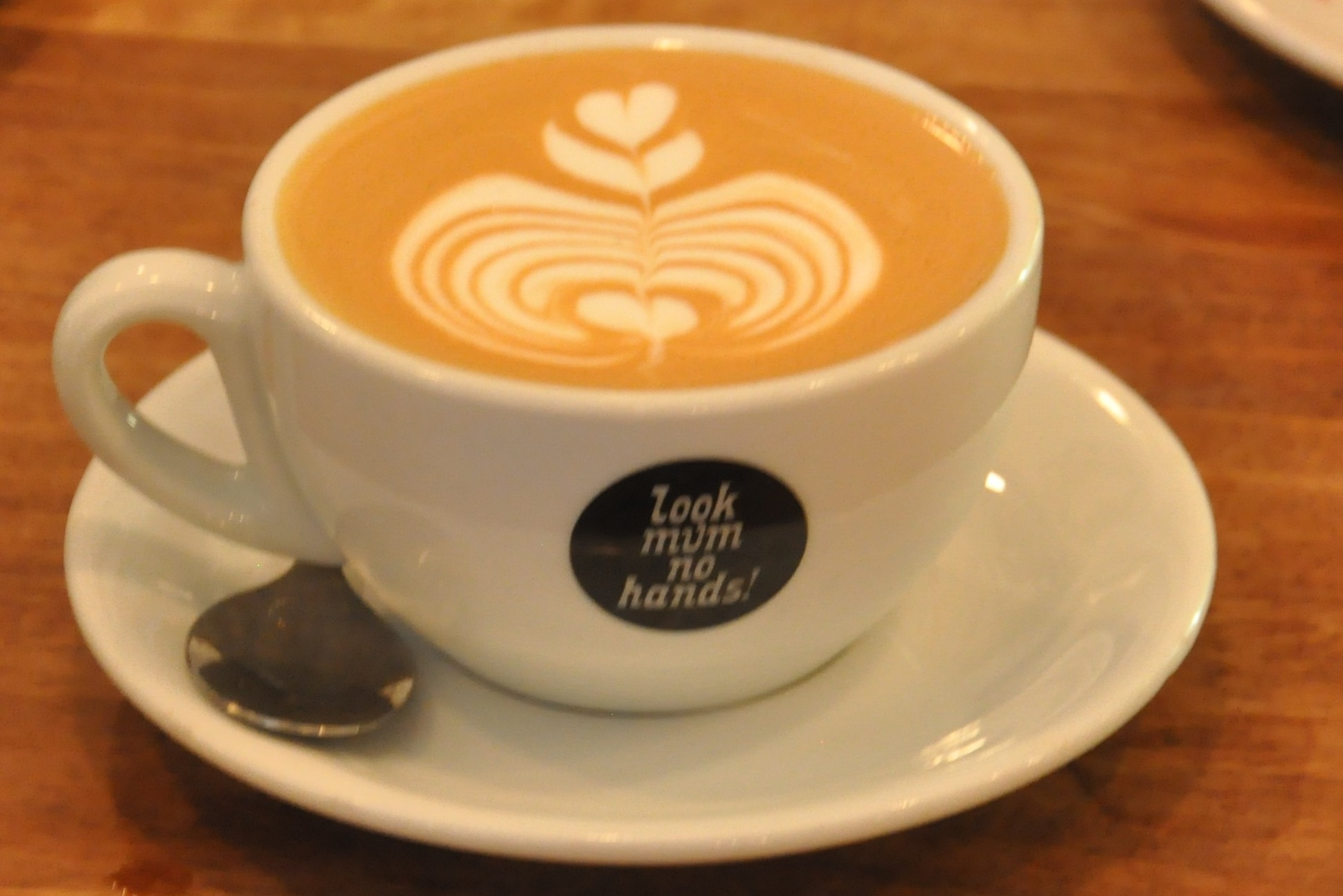 A flat white, with lovely latte art, in a classic white bowl cup, with the Look Mum No Hands! logo on the front