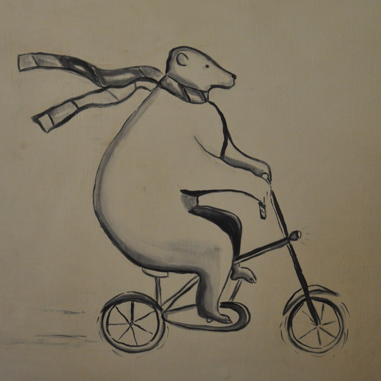 A pencil drawing of a large bear with scarf streaming behind it, as it peddles an under-sized bicycle.