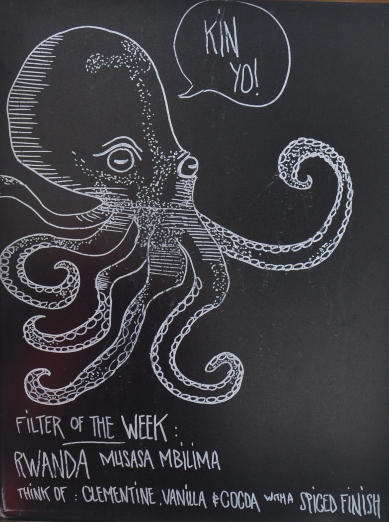 """A large chalk drawing of an octopus saying """"Yo Kin"""" in a speech bubble, above the handwritten details of Kin's filter of the week"""