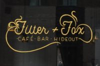 The writing on the window: Filter + Fox | Cafe - Bar - Hideout