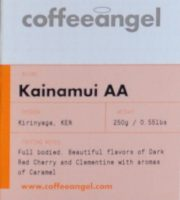 Detail from a box of Coffee Angel coffee, a Kainamui AA from Kenyan.