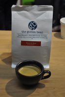 An El Salvador single-origin espresso at the World of Coffee 2016, roasted by Cork's The Golden Bean, and served in my Kaffeeform cup, made from recycled coffee grounds.