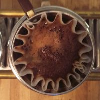 A single-serve Kalita Wave filter at Cafe Integral, New York City, seen from above.