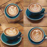 Two flat whites from Coffee Lab, Winchester, seen from front on and from above.