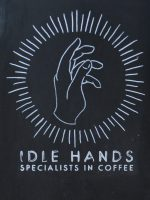 The Idle Hands logo, taken from the A-board outside the pop-up on Dale Street.
