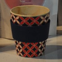 My new Ecoffee Cup, made from bamboo fibre, in action at the Notes stall in Borough Market.