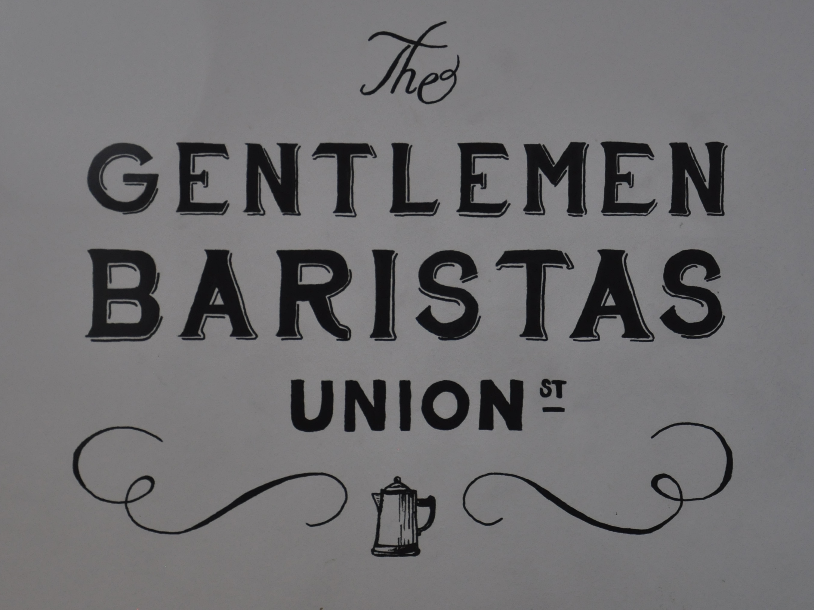Detail taken from The Gentlemen Baristas logo drawn on the wall upstairs at Union Street.